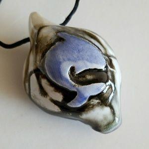 Hawaiian Pottery Shark Whistle Flute necklace